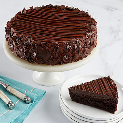 Triple Chocolate Enrobed Brownie Cake: