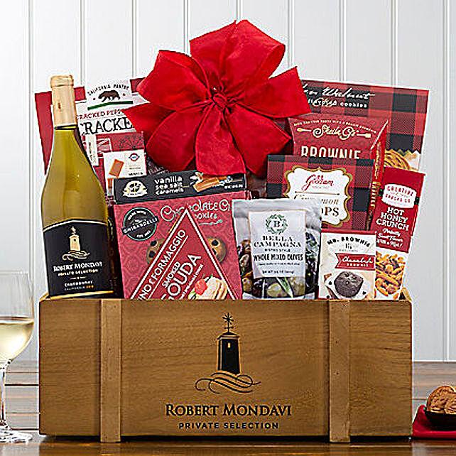 Robert Mondavi Chardonnay Wine Basket: Send Christmas Gift Hampers to USA