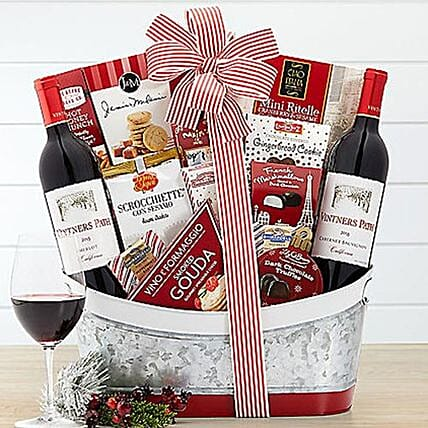Vintners Path Wine Collection N Snack Basket: Christmas Gift Delivery in USA