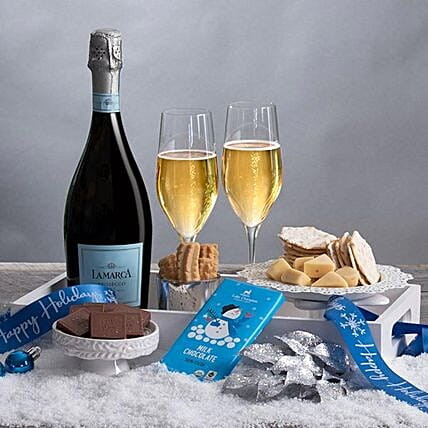 Champagne N Snack Crate: Hanukkah Gifts In USA