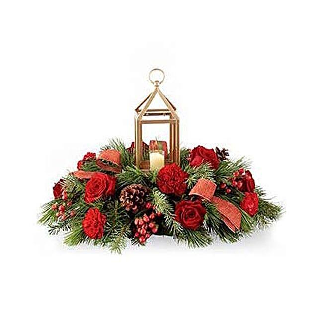 Festive Evergreen Centerpiece: Christmas Flowers to USA