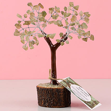 Green Calcite Gemstone Wishing Tree: