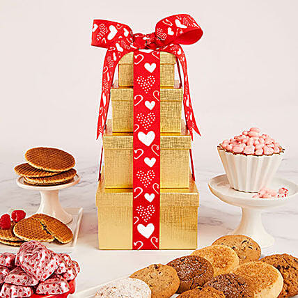 Solid Gold Valentines Tower Gift: Send Valentines Day Gifts to San Jose