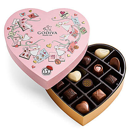 V Day Special Heart Chocolate Gift Box 14 Pcs: Send Chocolate to USA