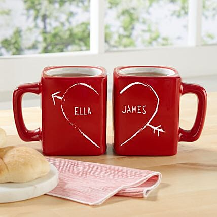Personalised Half Heart Mug Set: Send Valentines Day Gifts to San Jose