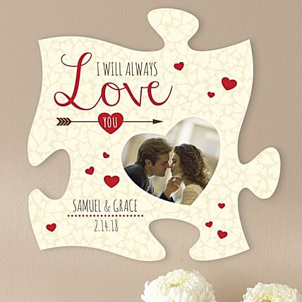Personalised Love Puzzle Piece Frame: Personalised Gifts to USA from India