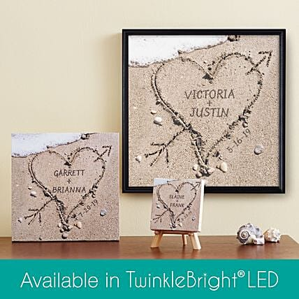 Personalised Sand Heart Canvas: Send Valentines Day Gifts to Dallas