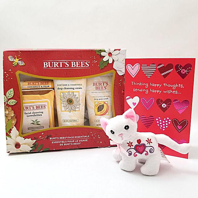 Burts Bees Face Essentials N Plush Kitten Love: Send Soft Toys to USA