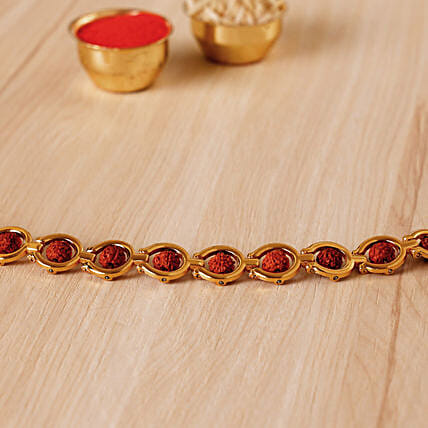 Divine Golden Red Rudraksh Bracelet: Send Rakhi to USA
