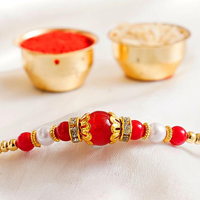 Red Pearl Beaded Rakhi: Send Rakhi to USA