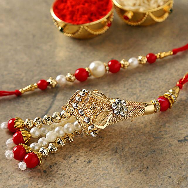 Red Fancy Bhaiya Bhabhi Rakhi: Rakhi Delivery in USA