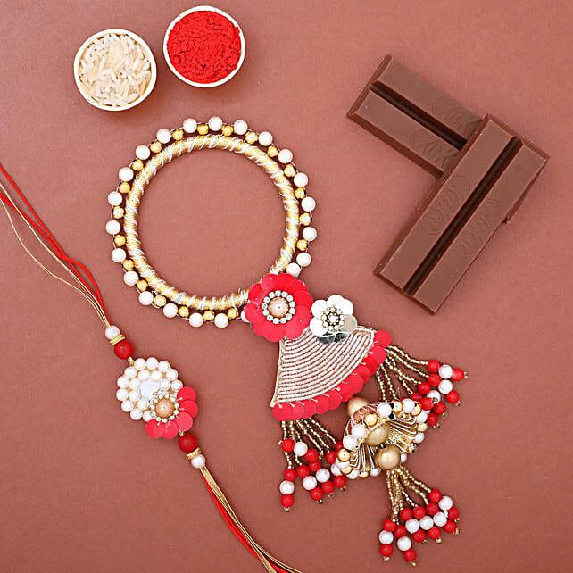 Pearl Lumba Rakhi Set N KitKat Chocolates: Send Rakhi to USA