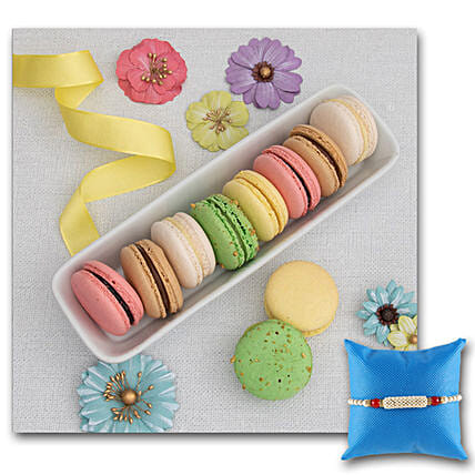French Macarons Variety Gift Box With Rakhi: Send Rakhi to USA