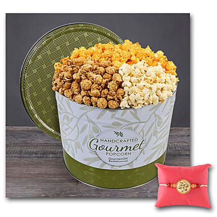 Gourmet Popcorn Tin 1 Gallon With Rakhi: Rakhi Delivery in USA