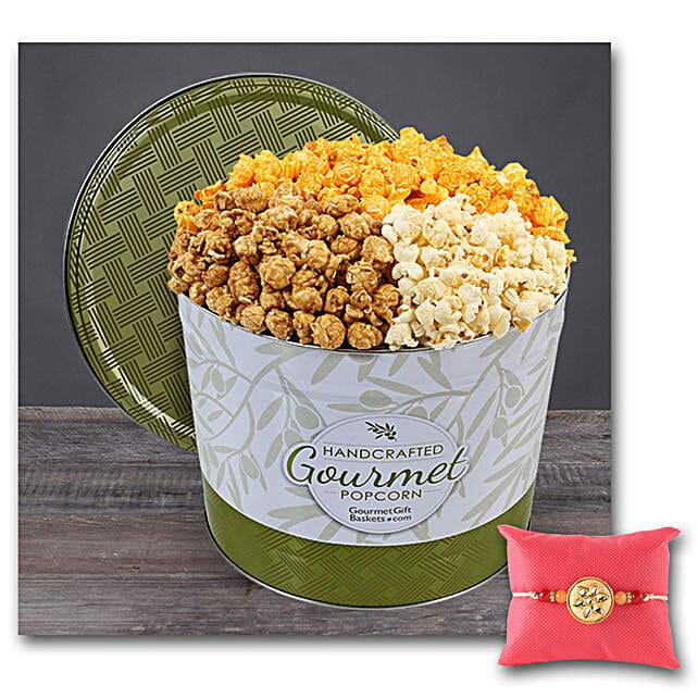 Gourmet Popcorn Tin 1 Gallon With Rakhi: Send Rakhi to USA