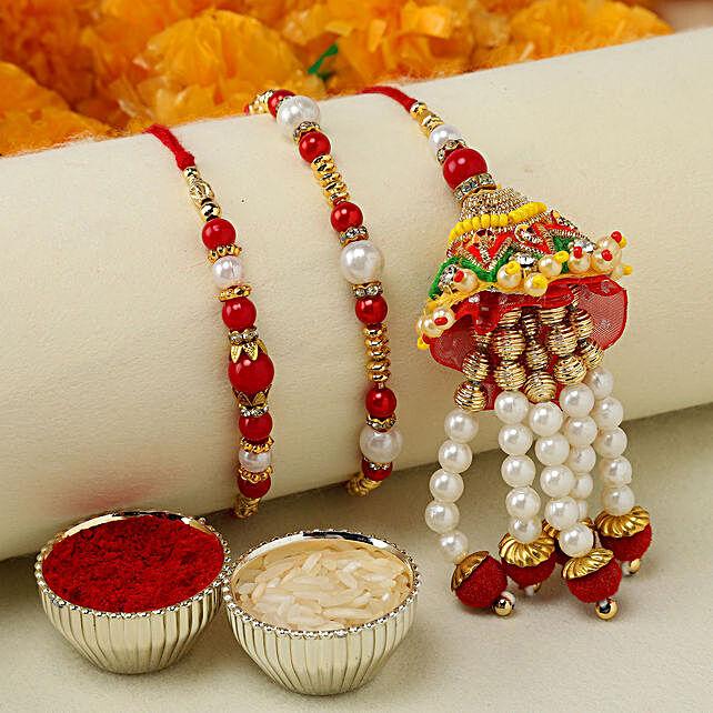 Designer Lumba Set With Red Pearl Rakhi: Rakhi Delivery in USA