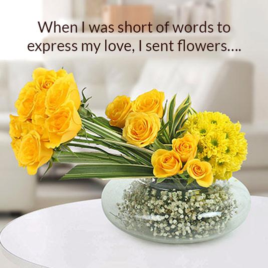 Vase Arrangement of Yellow Roses & Daisies Flowers