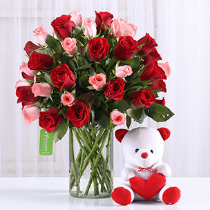 Valentine's Day Flowers and Teddy Bears