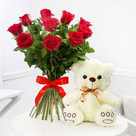 Flowers & Teddy Combo to USA