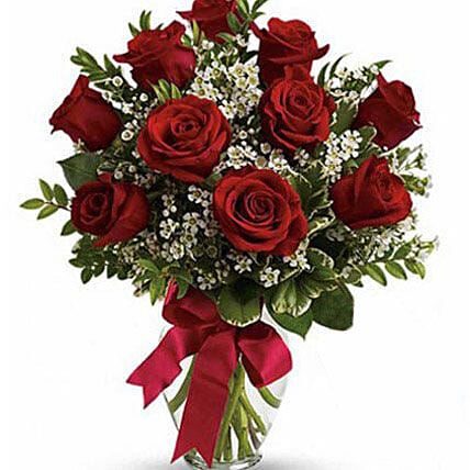 10 Red Roses Fresh Bouquet:Send Roses to Australia