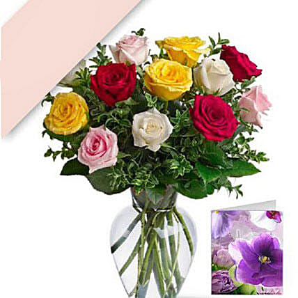 12 Mixed Roses With Card