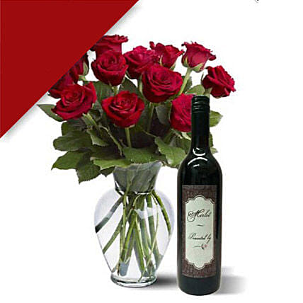 12 Roses N Wine Combo:Send Roses to Australia