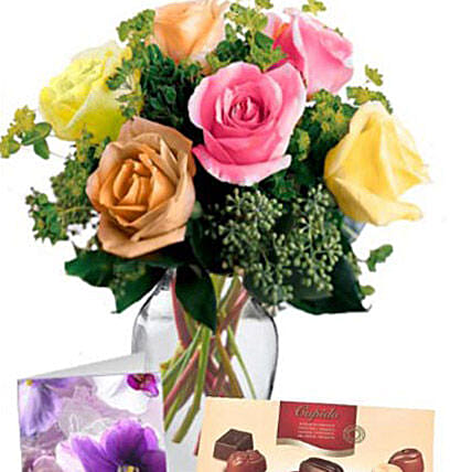 6 Mixed Roses Combo:Flowers and Chocolates Delivery in Australia
