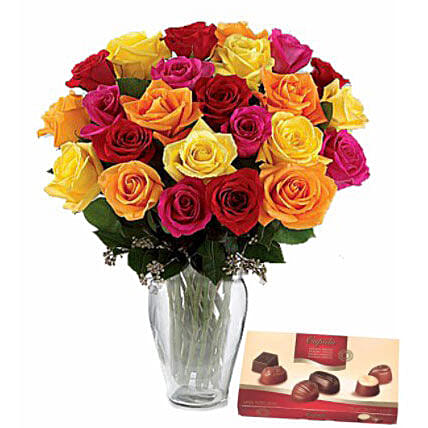 Belgian Chocolates N Mixed Roses