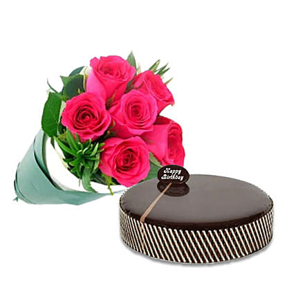 Bouquet Of Pink Roses N Mud Cake:Chocolate Cake Delivery in Australia