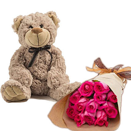 Dark Pink Roses N Teddy:Mother's Day Flower Bouquets Australia