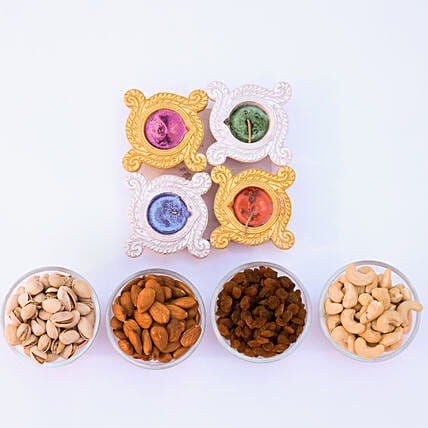 Diyas And Dry Fruits For Diwali Celebrations