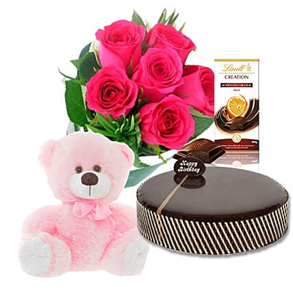 Hamper Of Roses Chocolates N Teddy