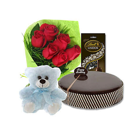 Hamper Of Roses N Cake