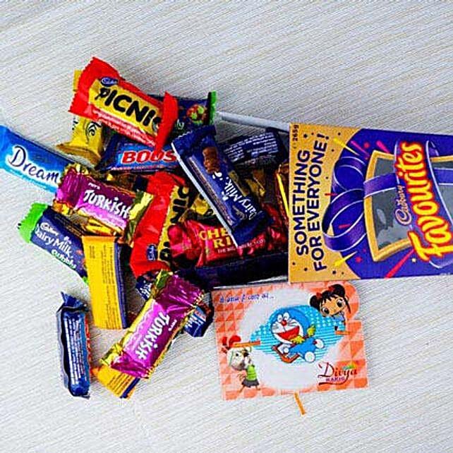 Kid Rakhi With Cadbury Favourite