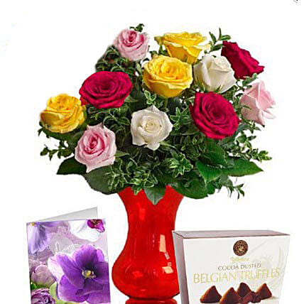 Long Stemmed Mixed Roses Combo