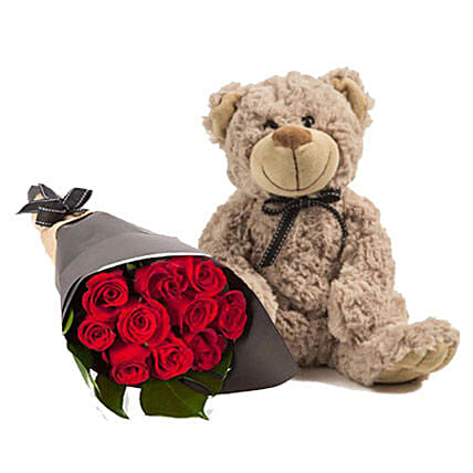 Lovely Red Roses With Brown Teddy:Mother's Day Bouquets in Australia