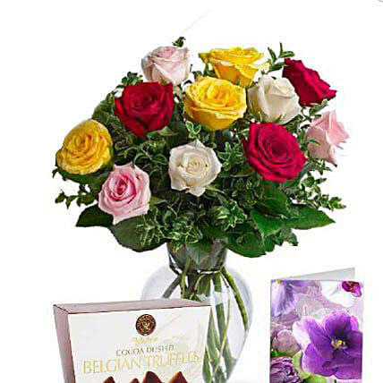 Mixed Roses N Chocolate Combo