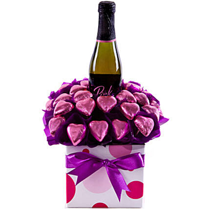 Mothers Day Pink Sparkling Wine And Chocolates Arrangement:Mother's Day Gift Delivery in Australia