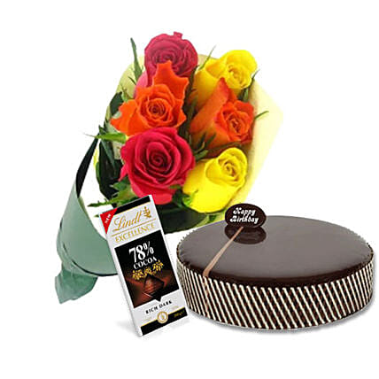 Mud Cake N Roses Combo:Cake Delivery in Australia