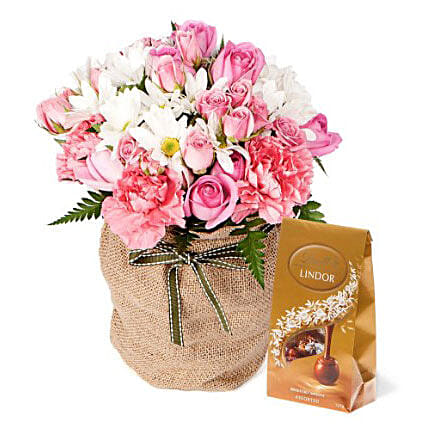 Pink Flowers With Chocolate Box