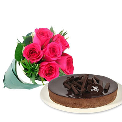 Pink Roses With Cheesecake:Mother's Day Flower Bouquets Australia