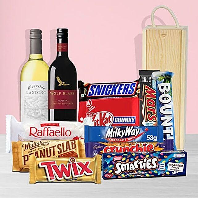 Premium White And Red Wine With Chocolates
