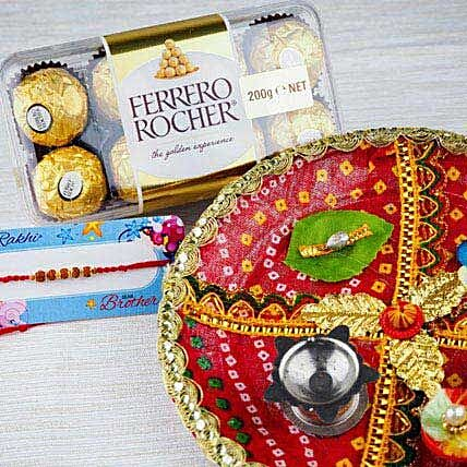 Rakhi with Fererro Rocher and Traditional Thali
