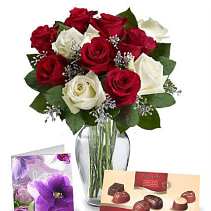 Red N White Roses With Chocolates:Rose Delivery in Australia