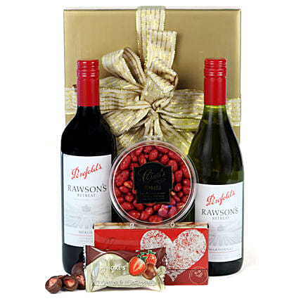 Red N White Wine Delight Hamper:Gift Baskets to Australia