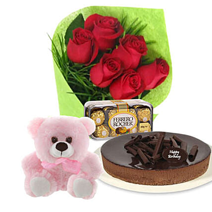 Red Roses Cake N Teddy Combo