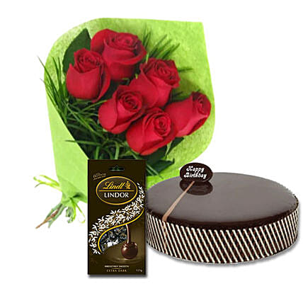 Red Roses With Dark Chocolates:Mothers Day Cake Delivery in Australia