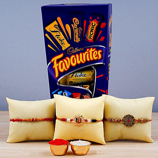 Set Of 3 Rakhis N Cadbury Favourites