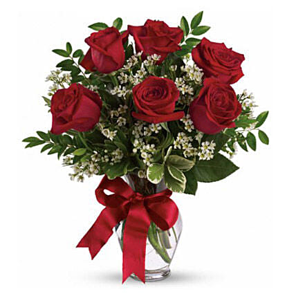 Six Long Stemmed Red Roses Bouquet:Send Roses to Australia