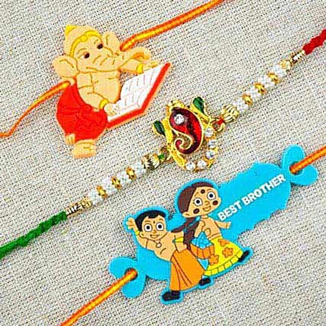 Three Colorful Rakhi Set